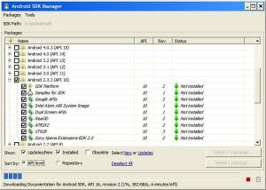 Selección de paquetes del instalador SDK